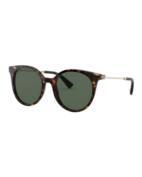 Valentino Round Acetate Gradient Sunglasses