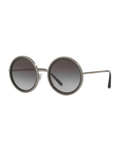 Dolce & Gabbana Round Scalloped Metal Frame Sunglasses