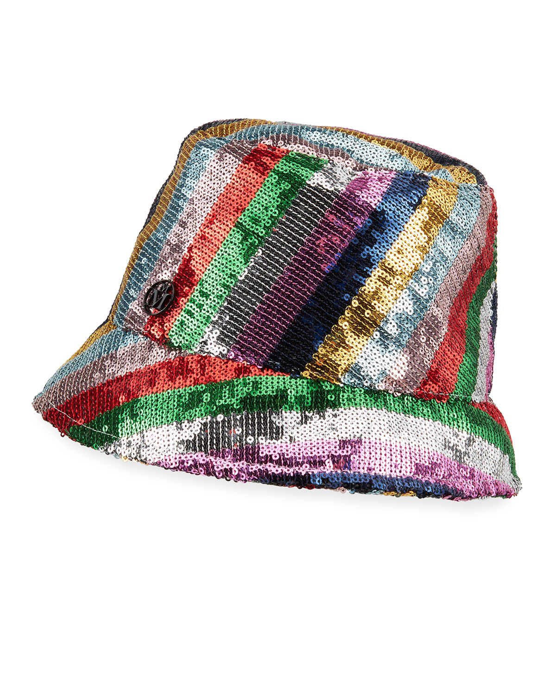 Souna Stripey Sequined Bucket Hat