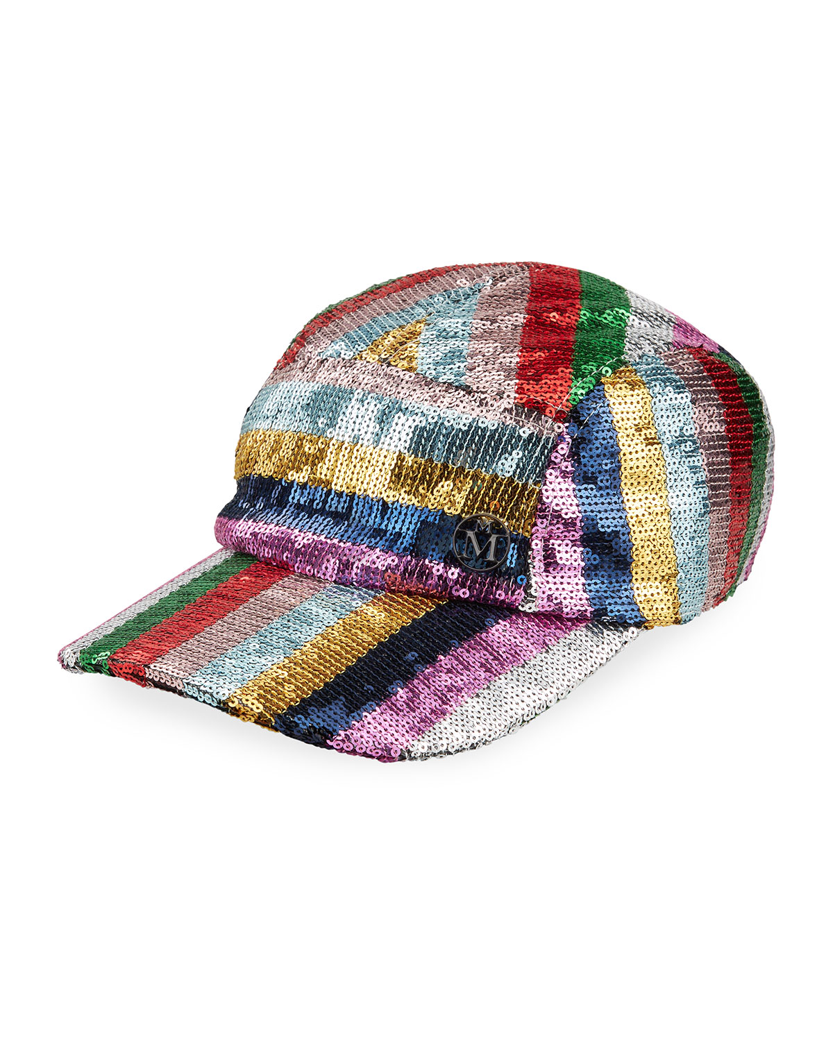 Maison Michel NELL STRIPE SEQUINED BASEBALL CAP