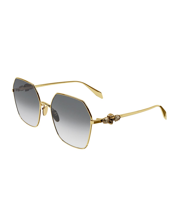 Geometric Metal Sunglasses w/ Swarovski Droplets & Skull