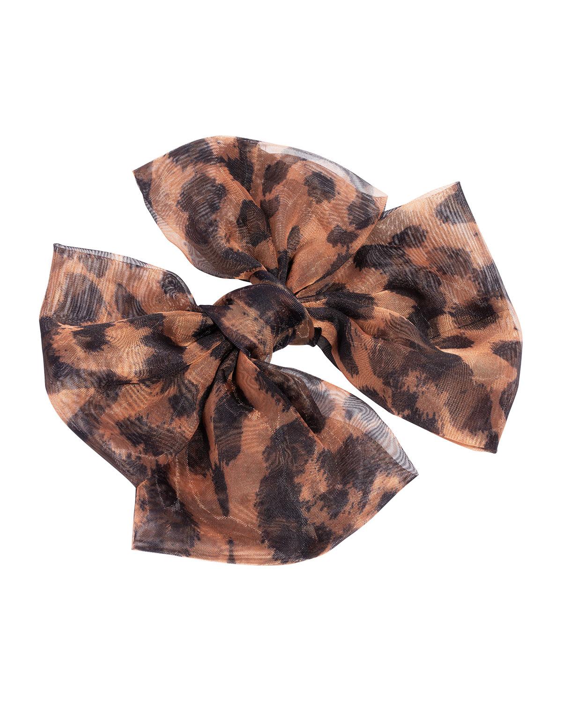 Sheer Leopard-Print Bow Barrette
