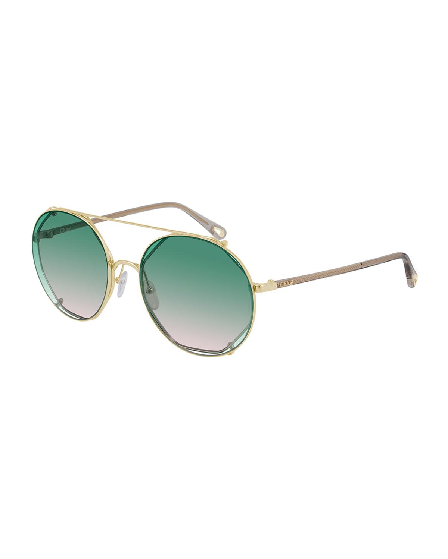 Geometric Metal/Acetate Sunglasses