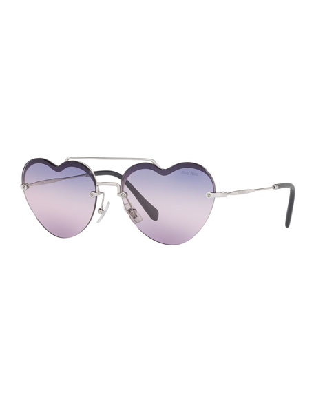 Miu Miu Heart-Shaped Mirrored Sunglasses