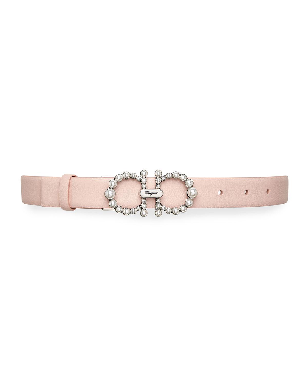 New Gancini Pearls Leather Belt