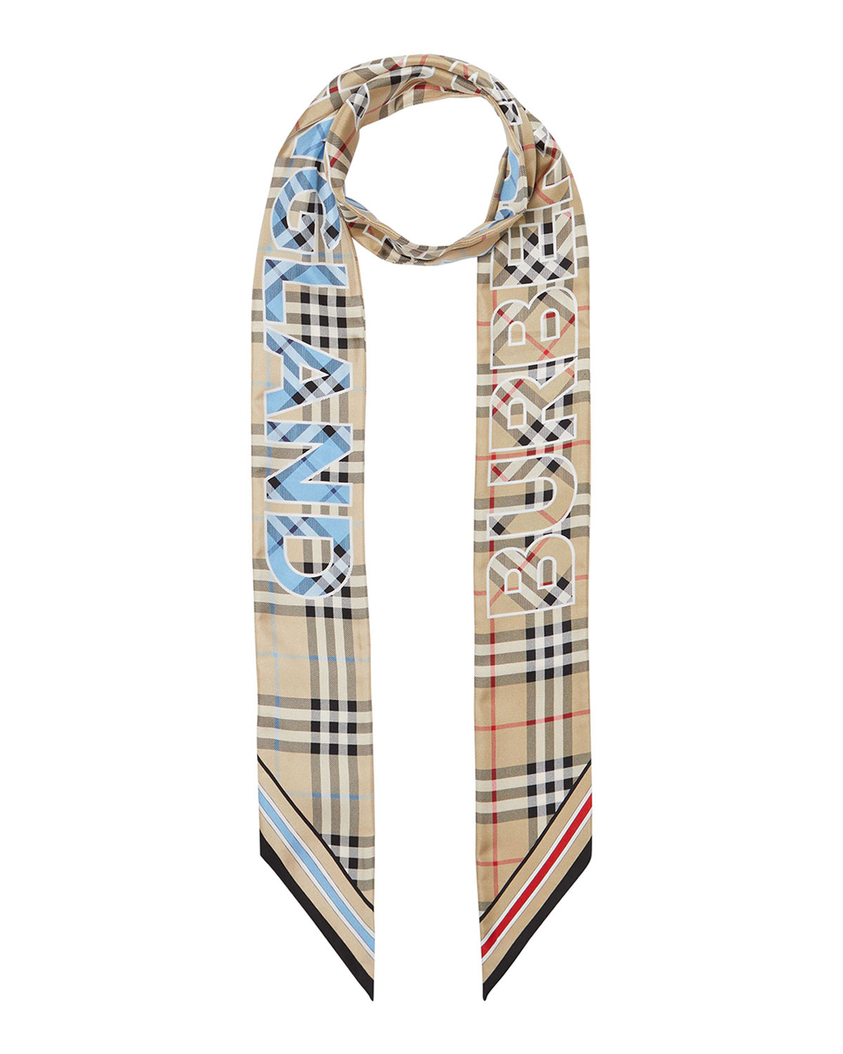 Burberry VINTAGE CHECK-PRINT SILK TWILL RIBBON SCARF