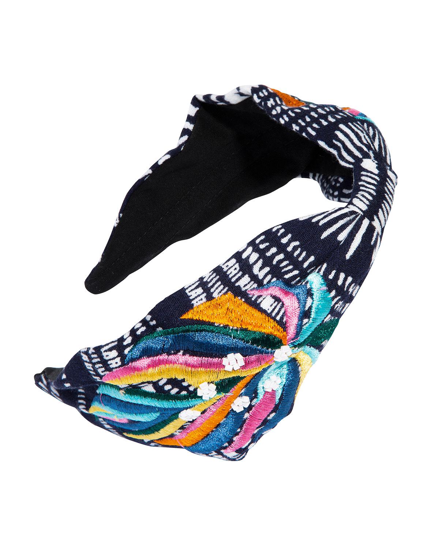 Manzanillo Embroidered Jersey Knot Headband