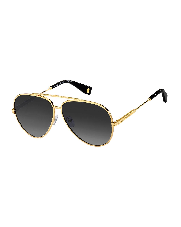 Marc Jacobs METAL AVIATOR SUNGLASSES, BLACK/GOLD