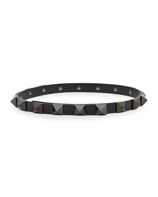 Tonal Roman Stud Leather Skinny Belt