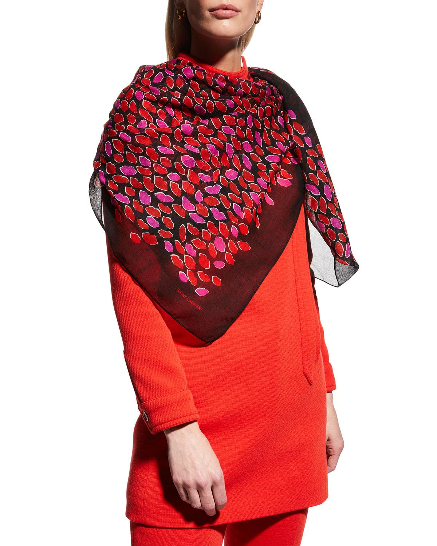 Lip-Print Large Wool Stole Scarf