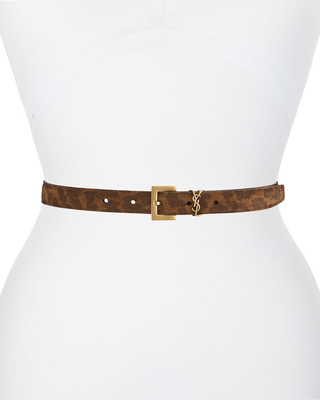 YSL 20mm Leopard-Print Suede Leather Logo Belt