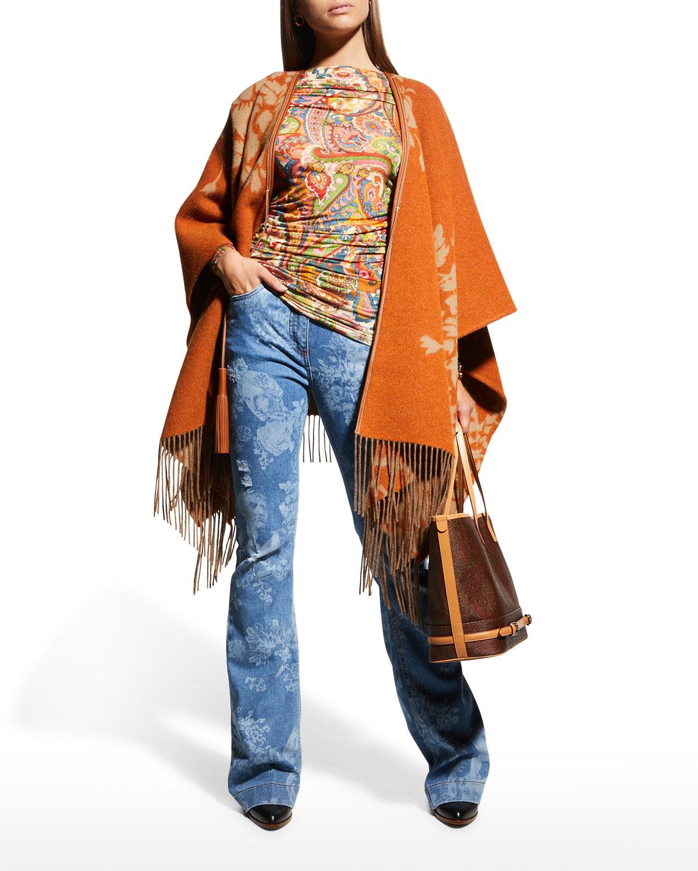 Deco-Print Fringe Wool Cape w/ Leather Trim