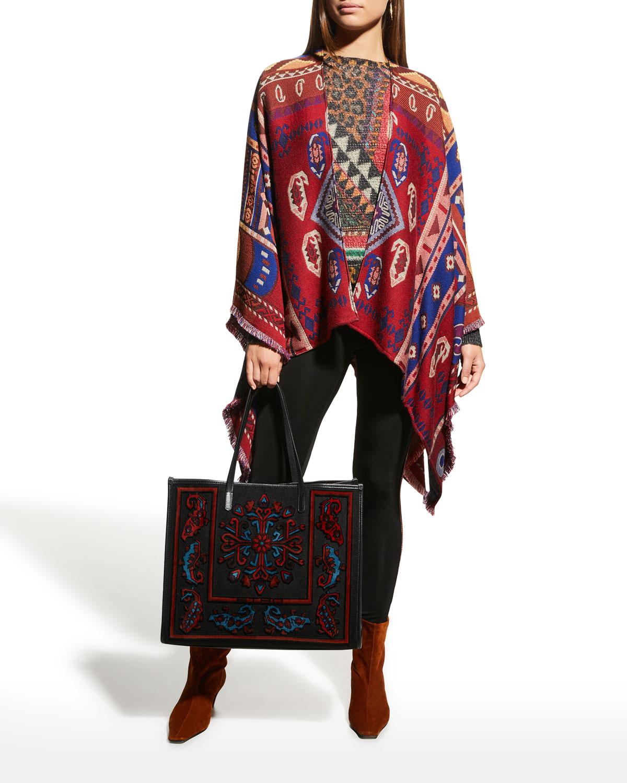 Aztec Print Wool Cape
