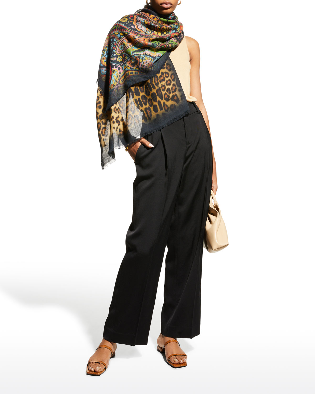 Shaal-Nur Multi-Print Wool/Silk Scarf