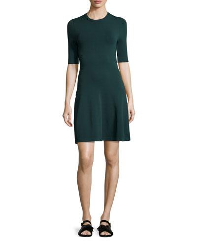 Short-Sleeve Dropped-Waist Knit Dress, Deep Forest