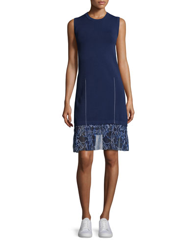 Sleeveless Knit Combo Dress w/ Bunny-Print Chiffon Trim, Marine