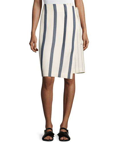 Striped Twill Wrap Skirt, Bone/Marine