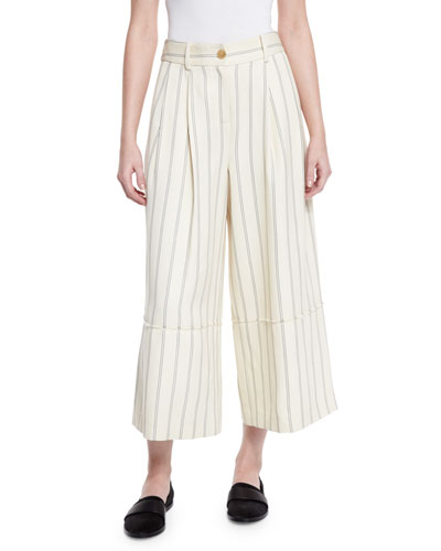 Striped Twill Wide-Leg Cropped Pants, Bone/Marine