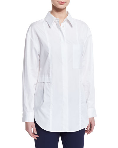 Relaxed Long-Sleeve Button-Front Poplin Shirt, Optic White