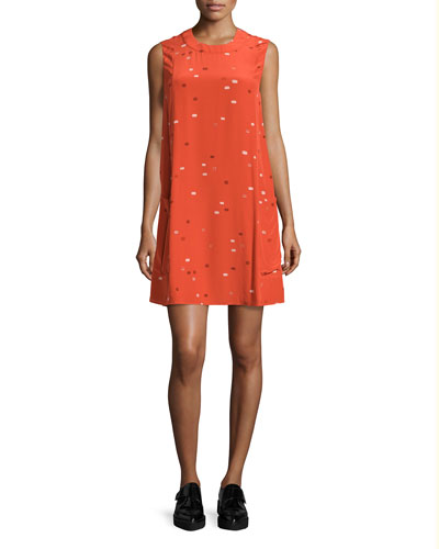 Sleeveless Dash-Print Shift Dress, Tangerine Multi