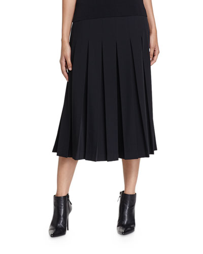 Wide-Leg Box-Pleated Crepe Pants, Black