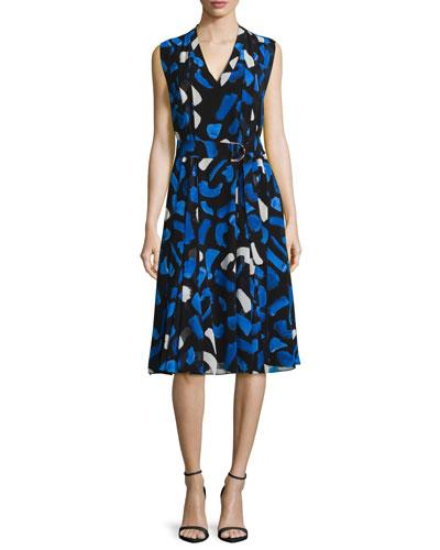 Brushstroke-Print Pleated A-Line Dress, Blue/White Multi