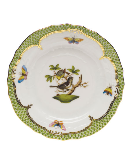 Herend Rothschild Bird Borders Green Bread & Butter Plate #1