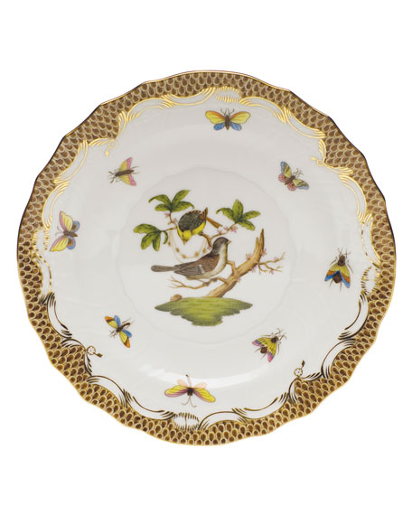 Herend Rothschild Bird Borders Brown Salad Plate #1