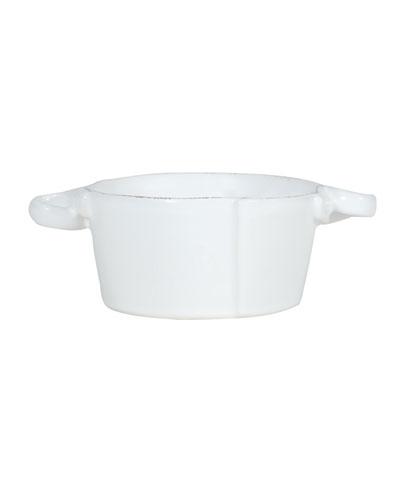 Lastra White Small Handled Bowl