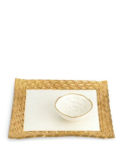 Truro Gold Square Tray with Bowl