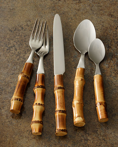 Five-Piece Bamboo Place Setting, Natural