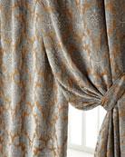 "Two 50""W x 84""L Bella Damask Curtains"