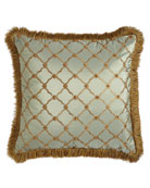 "Tuscan Trellis Square Pillow with Brush Fringe, 20""Sq."