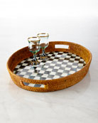 Courtly Check Rattan Party Tray