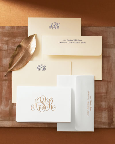 25 Monogrammed Correspondence Cards with Personalized Envelopes