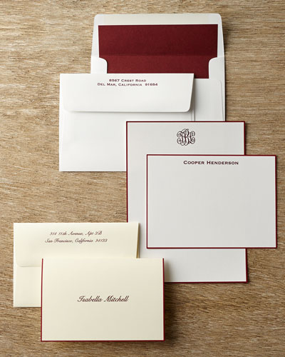 25 Hand-Bordered Folded Notes with Personalized Envelopes