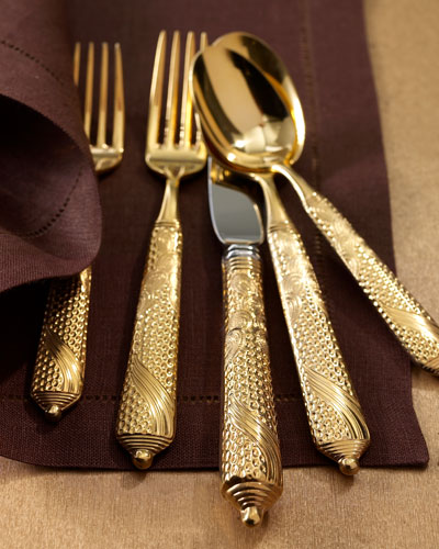 20-Piece Byzantine Gold-Plated Flatware Service
