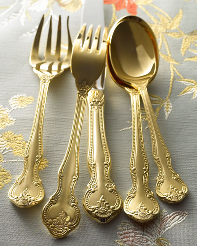 45-Piece Gold-Plated Baroque Flatware Service