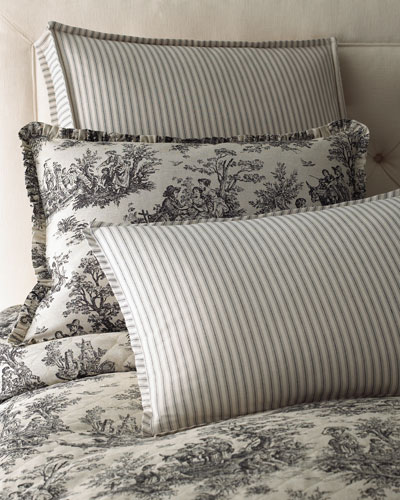 Sydney Square Toile Pillow with Piping, 18