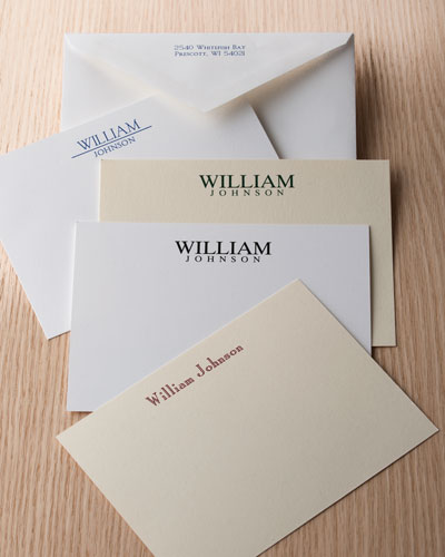 50 Masculine Correspondence Cards with Personalized Envelopes