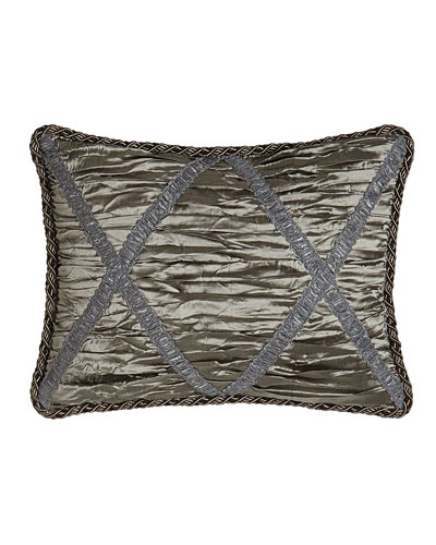 Penthouse Suite Shirred Silk Boudoir Pillow with Crisscross Design, 12