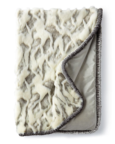 Penthouse Suite Faux-Fur Throw with Shirred Velvet Edge