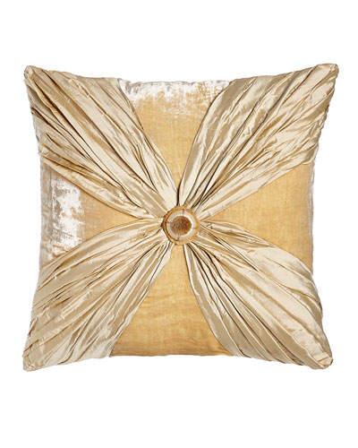 Neutral Modern Crushed Silk/Velvet Pillow with Rosette, 20