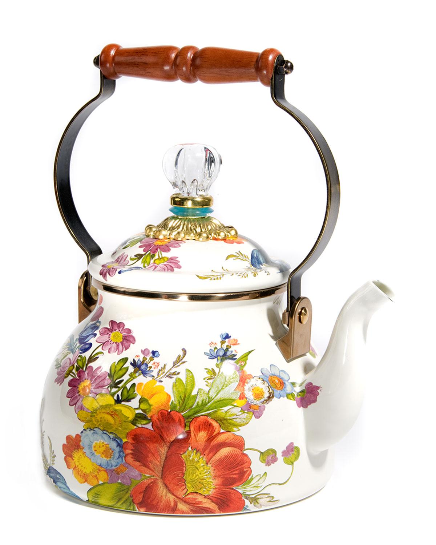 Flower Market White Two-Quart Tea Kettle