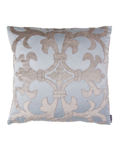 Blue/Silver Olivia Applique Pillow, 22