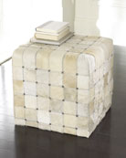 Ivory Hairhide Pouf