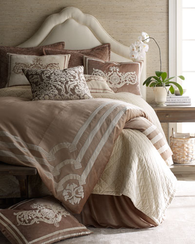 Standard Ivory Sham with Champagne Applique