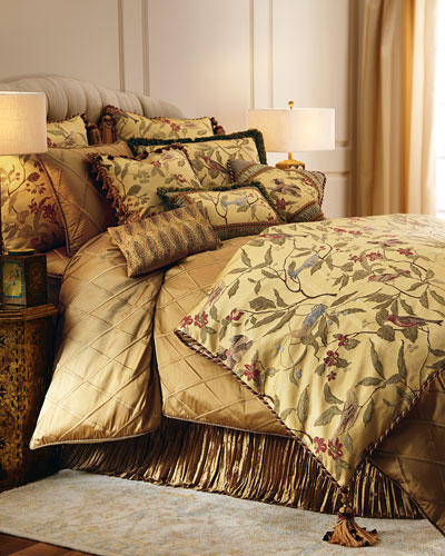 Chirping Fringed Bird Pillow with Shirred Silk Frame, 14
