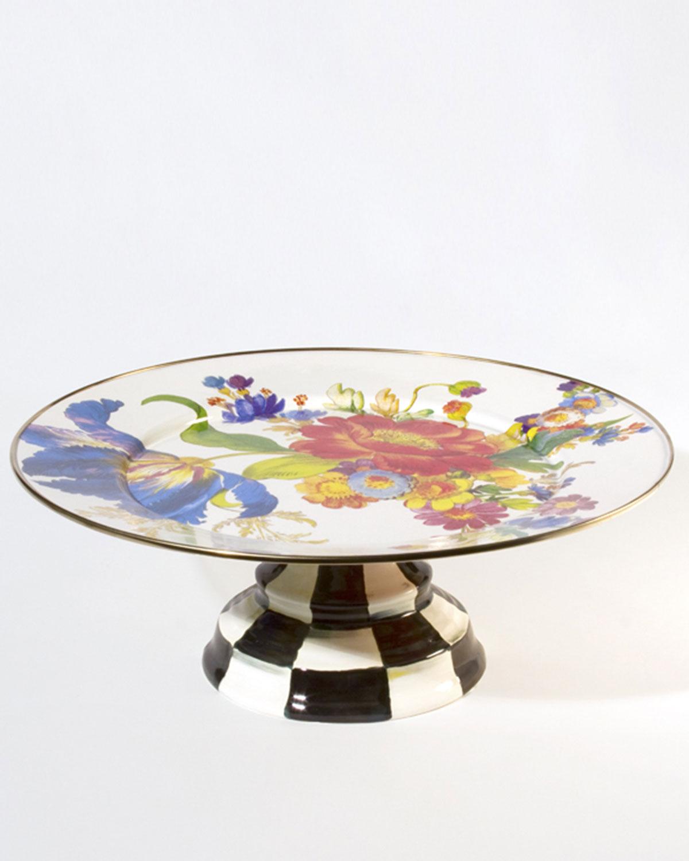 Large Flower Market Pedestal Platter