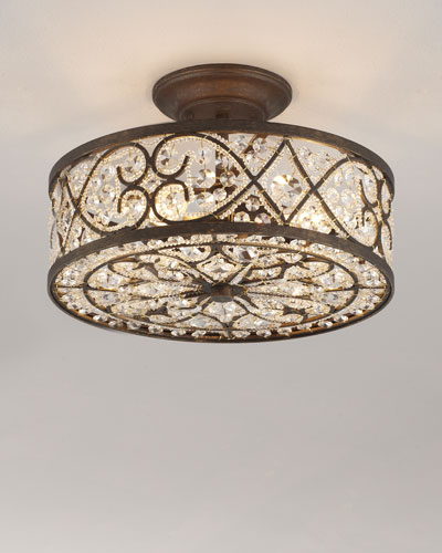 Woven Crystal Semi-Flush Ceiling Fixture